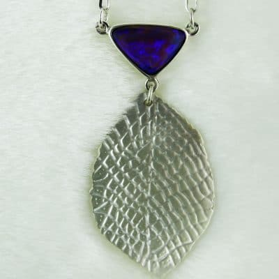 Silver Satin Leaf Pendant with Opal Top 1