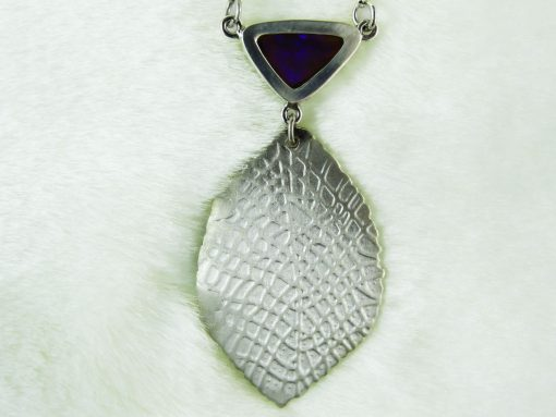 Silver Satin Leaf Pendant with Opal Top 2