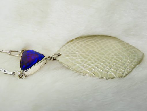 Silver Satin Leaf Pendant with Opal Side