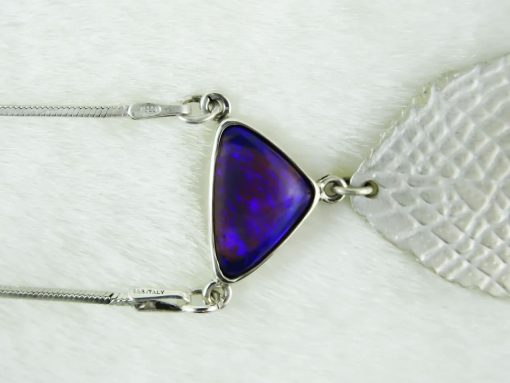 Silver Satin Leaf Pendant with Opal Close Up