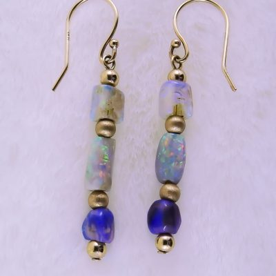 Opal Elegance Earrings Close up