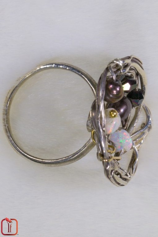 Handmade opal and pearl woven sterling silver ring