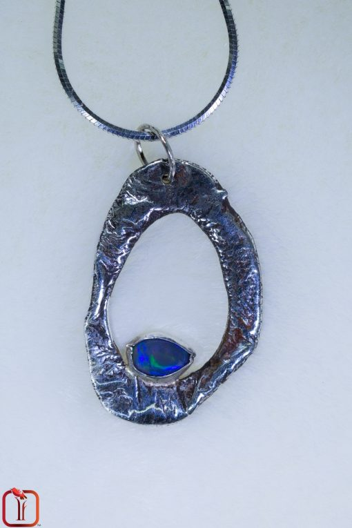 Textured Silver and Opal 'Nature' Pendant Photo 3