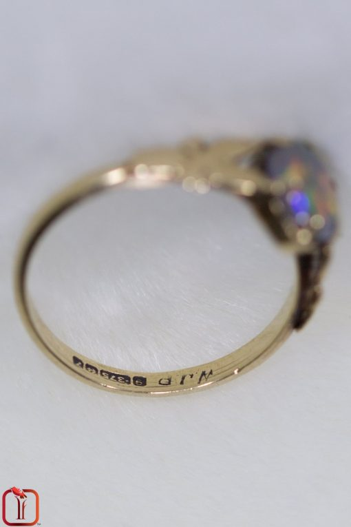 Vintage 9ct gold handmade opal ring