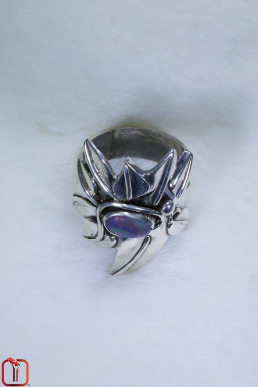 Handmade Vivacious Sunset Opal Ring in sterling silver stylised leaf design Top