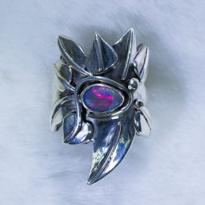 Handmade Vivacious Sunset Opal Ring in sterling silver stylised leaf design Front
