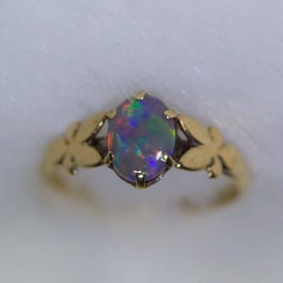 Vintage 9ct gold opal ring handmade opal ring