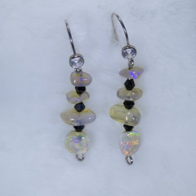 Handmade Opal Earrings - Rainbow Crystal Mini Chandelier Earrings