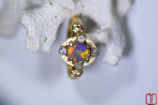 Handmade 18ct Yellow Gold Opal and Diamond Ring