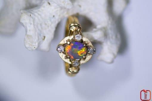 Handmade 18ct Yellow Gold Opal and Diamond Ring