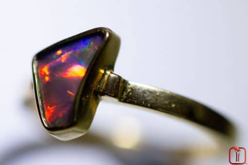 Handmade 18ct Yellow Gold Solid Opal Ring Photo 2
