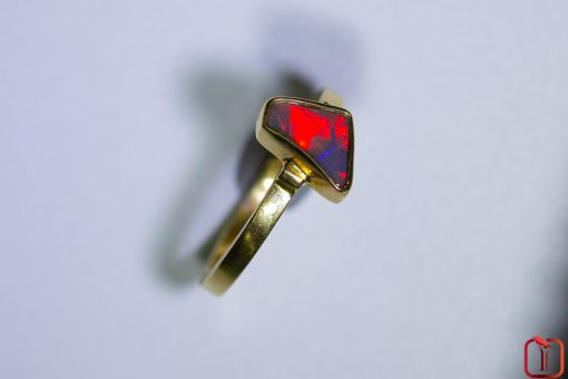 Handmade 18ct Yellow Gold Solid Red Opal Ring