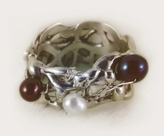 Handmade Sterling Silver Ring with Fresh Water Pearls