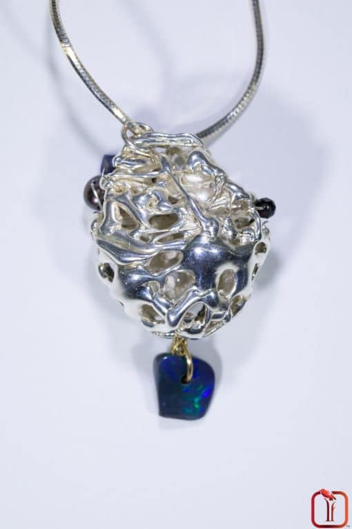 Sterling Silver with Solid Opal & Black Pearl Catacomb Pendant Photo 6