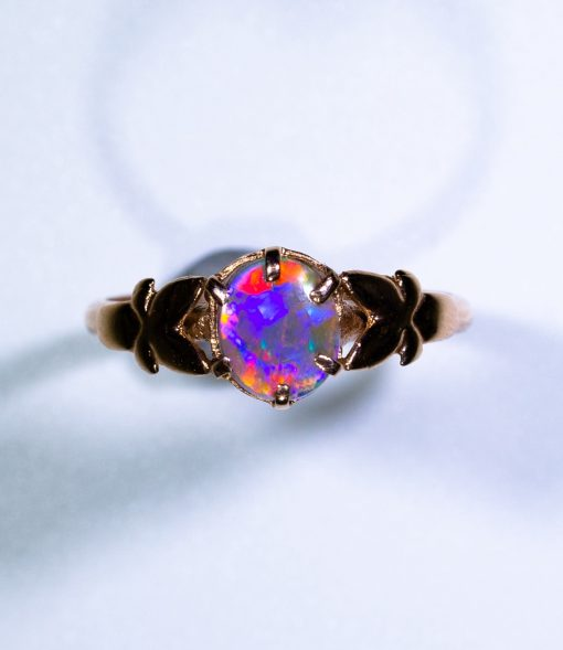 9ct Pink Rose Gold Butterfly Ring with Solid Opal Photo 2