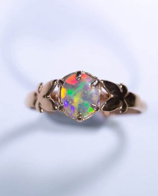 9ct Pink Rose Gold Butterfly Ring with Solid Opal