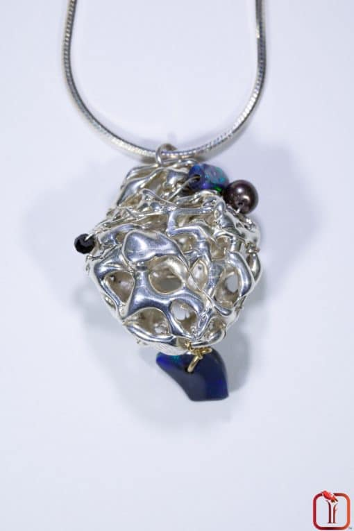 Sterling Silver with Solid Opal & Black Pearl Catacomb Pendant Photo 7