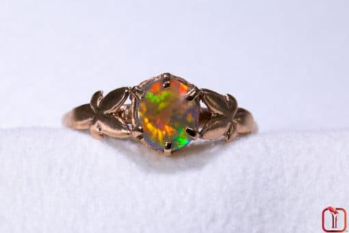 9ct Pink Rose Gold Butterfly Ring with Solid Opal Photo 8