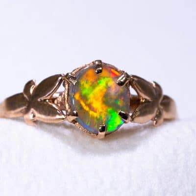 9ct Pink Rose Gold Butterfly Ring with Solid Opal Photo 7