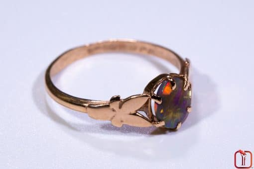 9ct Pink Rose Gold Butterfly Ring with Solid Opal Photo 4