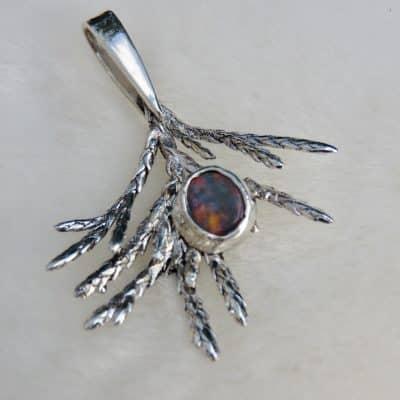 Fern leaf opal pendant