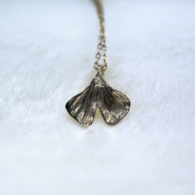 Ginkgo Biloba Leaf Pendant 14k gold